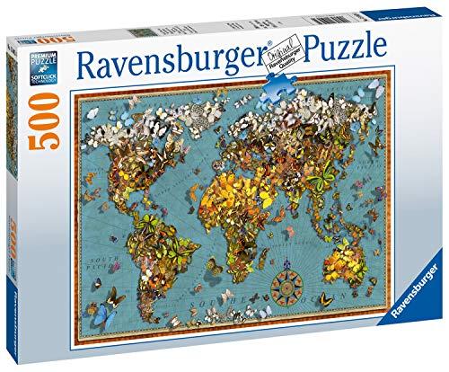 Ravensburger Puzzle 15043 - Antike Schmetterling-Weltkarte - 500 Teile Puzzle für Erwachsene und Kinder ab 10 Jahren, Puzzle-Weltkarte