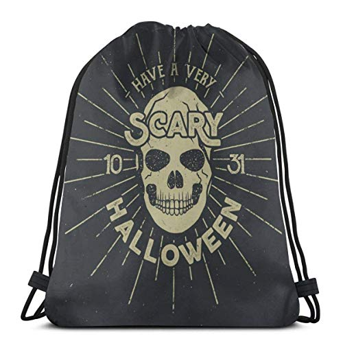 Emonye Halloween 2016 Party Label Template with Skull Drawstring Bag for Boys and Girls Gym Bags 14.2 x 16.9 inch
