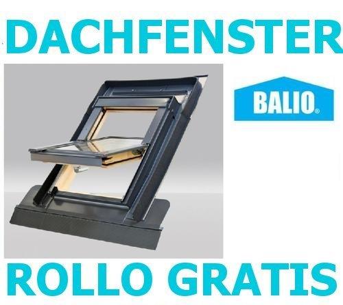 Dachfenster Balio Schwingfenster mit Eindeckrahmen und Rollo ( Verdunkelungsrollo ) 66x112 cm (VKR Konzern Rooflite Velux)