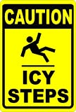 Caution Icy Steps Sign. 18x24 Metal. Free Shipping. Post for Safety During Bad Winter Weather. Made in USA