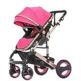 FAFY Baby Passeggero Travel System 2 in 1 Buggy Carrozzina Passeggino Bambino Reverse Buggy Baby Jogger,Pink