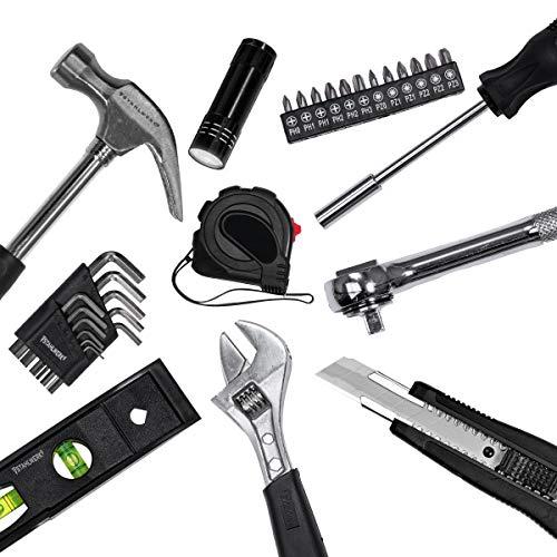 STAHLWERK Werkzeugkoffer WK-102 ST Werkzeugkasten Werkzeugkiste 102 Teile Komplett Sortiment für Hobby DIY und Hausgebrauch, praktische und übersichtliche Anordnung
