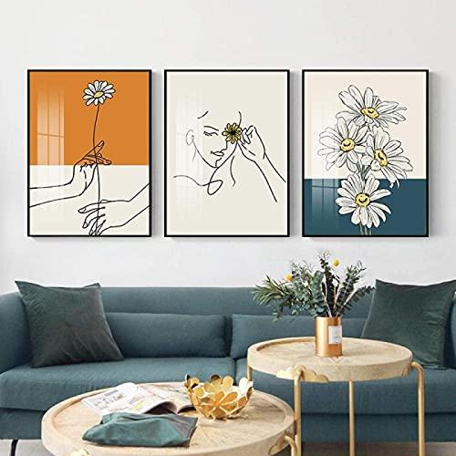 SXXRZA Arte de la Lona 3 Piezas 40x60cm Sin Marco Flores de crisantemo abstractas Pintura de Lienzo Minimalista Carteles e Impresiones nórdicos Imagen de Arte de Pared Decoración para el hogar