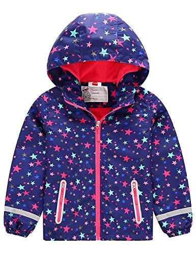 G-Kids Kinder Mädchen Kapuzenjacke Warme Gefütterte Übergangsjacke Wasserdicht Stern Druck Regenjacke Outdoorjacke Wanderjacke 122/128