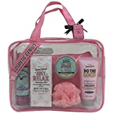 Gloss - Caja de Baño - Estuche de regalo para las mujeres - Bolso de baño rosado transparente - Beautyous - Aroma Karité, Vainilla y Mentha Citrata - 7 pzs