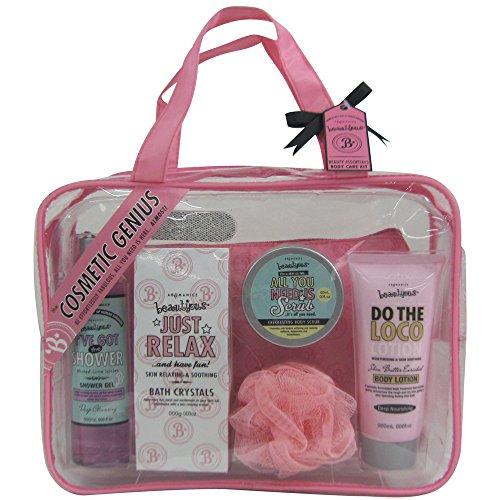 Coffret cadeau pour femme - Sac de bain incluant trousse de maquillage et brillant à lèvres - Collection Beautyous - Karité/Vanille/Menthe citronnée