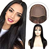 10'(25cm) SEGO Pelucas Negras Mujer Pelo Natural [Full Lace Front Wig Human Hair] Cabello Humano 100% Remy with Baby Hair [Silk Base 4 * 4] 130% Densidad Straight Lisas Largas (#1B Negro Natural)