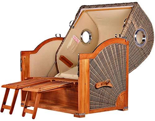 Luxus Mahagoni XXL Strandkorb Volllieger für 2 Personen aus Hartholz Grau-Weiß Gestreift - Aufgebaut und Einsatzbereit Strandkorbwelt365 - 5