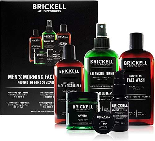 Brickell Men's Morning Face Care Routine I, Gel Limpiador para el Rostro, Tónico sin Alcohol, Exfoliante Facial, Crema para los Ojos, Suero de día con Vitamina C y Humectante Facial Diario, Perfumado