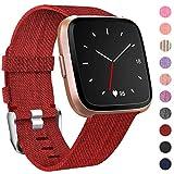 HUMENN Bracelet pour Fitbit Versa/Fitbit Versa 2, Bande en Tissé de Remplacement Réglable Sangle Rechange avec Connecteurs Accessoires pour Fitbit Versa Smartwatch Petit, Vin Rouge