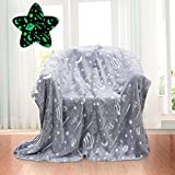 Glow in The Dark Throw Blanket for Kids 50 x 60 Inches,Glowing Blanket with Galaxy Planet Pattern for Bed Sofa Couch,Baby Soft and Cozy Warm Cute Blankets,Unique Gifts for Boys Girls and Grandkids