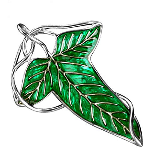 Green Leaf Elven Pin Brooch Charm Pendant Chain Necklace Brooch Pins for Great Gifts Stylish and Popular