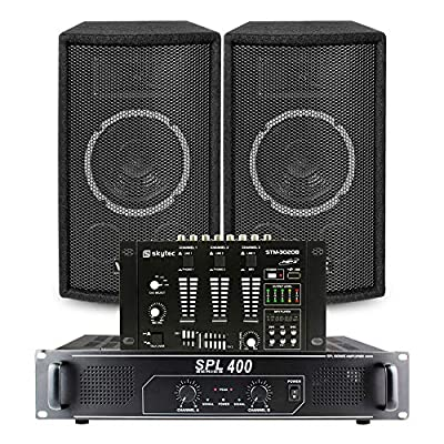 "2x Skytec 6"" SL6 Speakers + Skytec SPL-400 Amplifier + Mixer + Cables 300W"