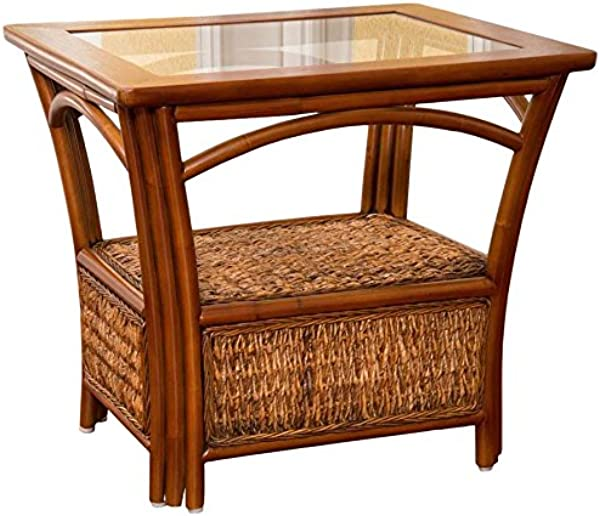 Alexander Sheridan PAN021 SI Panama End Table In Sienna Finish With Glass