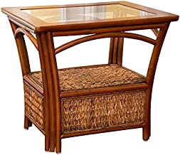 Alexander & Sheridan PAN021-SI Panama End Table in Sienna Finish with Glass