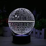 3D LED Lamp Star Wars Death Star Holographic Lamp, 2 Light Modes, 7 Colors, Powered by USB or AA Battery
