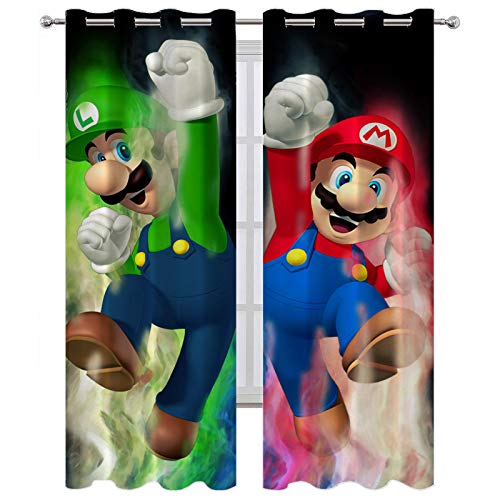 SSKJTC Grommet Curtains Super Mario Bros Cheering Pose Blackout Curtains Kids Room W63 x L45