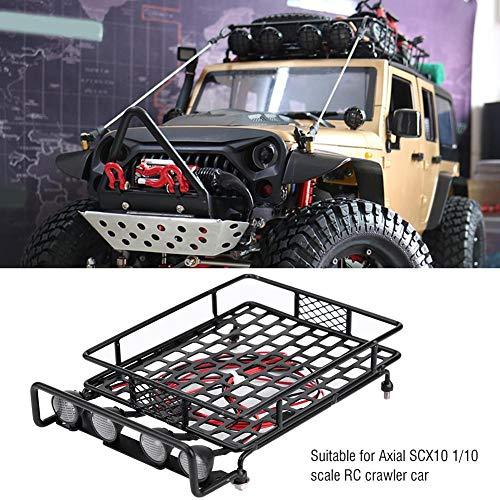 Dilwe RC Auto-Dachgepäckträger, großes Dachgepäckträger-Gepäckträger mit 4 runden LED-Leuchten für Axial SCX10 1/10 Remote Crawler Car( 4 Weiß)