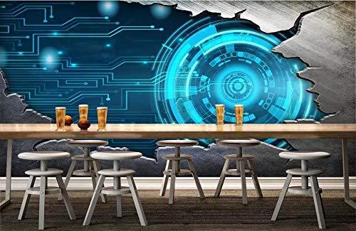 QFAZO Papel tapiz personalizado 3d foto mural personalidad retro metal tecnología cielo estrellado imagen papeles de decoración del hogar murales 3d, 350x245 cm (137.8 por 96.5 pulgadas)