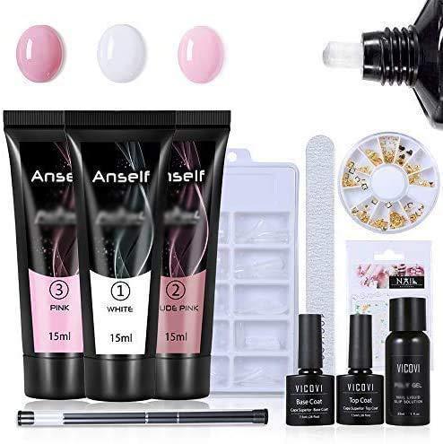 Anself Gel Unghie Kit DIY, 3 colori 15ml Nail Gel + 100Pcs stampi per unghie + top coat di base + penna per unghie a doppia punta + lima unghie + detergente per unghie + adesivo unghie + strass