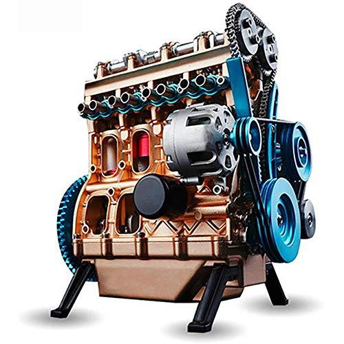 4気筒インラインガソリンエンジンモデル構築キット、フルメタル組み立てミニエンジンモデル教育金型玩具キ...