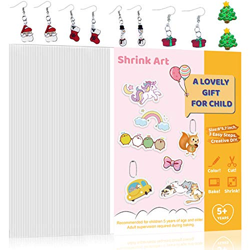Rawskro 72 Pieces Sanded Shrink Plastic Sheet Kit, Shrinky Art Paper Translucent Shrink Film Sheets, Kids Creative Craft Activities for All Ages, 5.7 x 7.9inch / 14.5 x 20cm