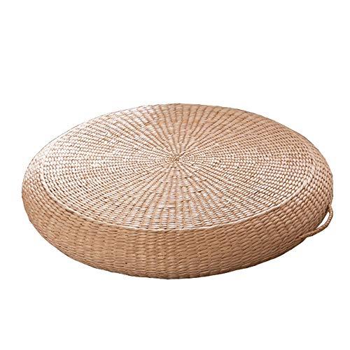 Cojín redondo de paja tejida, almohadilla para silla de totora de tatami de 23.6 ', asiento de yoga, alfombra de piso de punto, para la meditación Jardín Comedor Decoración para el hogar al aire libre