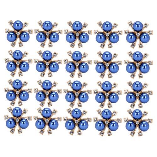20 piezas de adornos de perlas de diamantes de imitación, broche de perlas, botón, cuentas de perlas planas, bricolaje para adornos de álbum de recortes de bricolaje, ramo de boda, flor, ropa(Azul)