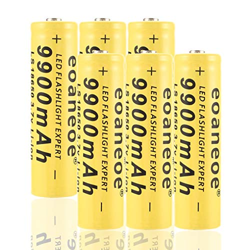 SIMEEGO 6 PCS 18650 Rechargeable Lithium Battery, high Capacity...