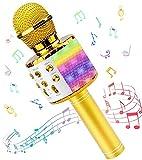 Micrófono Inalámbricos Karaoke, Microfono Niños Bluetooth Portátil con Altavoz y Luces LED, para KTV Canta Partido Musica, Compatible con Android/iOS PC, AUX o Teléfono Inteligente