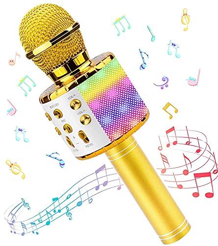 Microfono Karaoke, Wireless Bluetooth LED Flash Microfono con Altoparlante, Portatile Karaoke Player Compatibile con Dispositivi Android e iOS per KTV di Casa/Festa/Canto per Bambini (Oro)