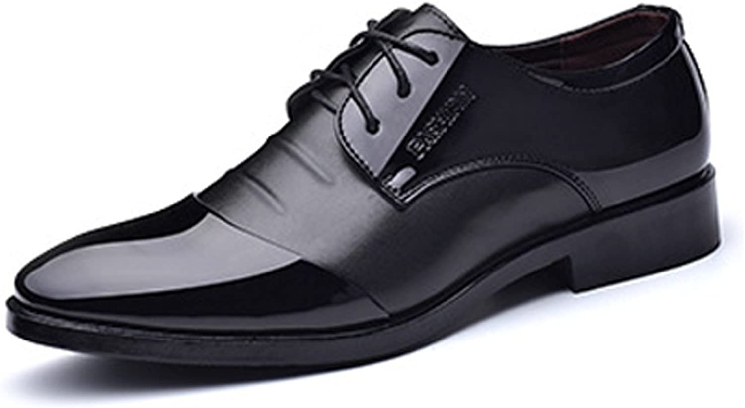 Men's Leather shoes Formal Business shoes Smooth PU Leather Splice Upper Lace Up Breathable Lined Oxfords (color   Black, Size   5.5 UK)