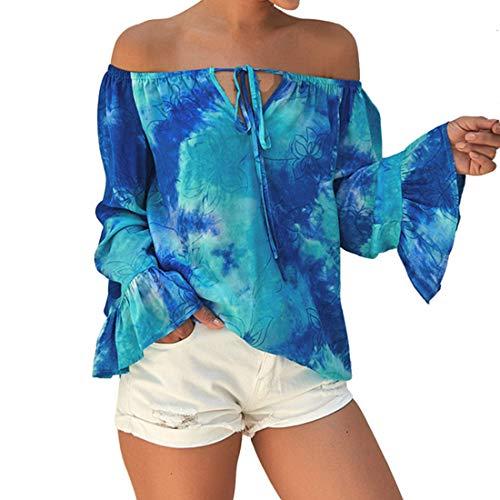 Damen Langarmshirt Damen Elegante Schulterfreie Oberteile Tunika Laterne Ärmel Casual Karmenbluse Off Shoulder Oberteil Druck Shirt C-Blue M