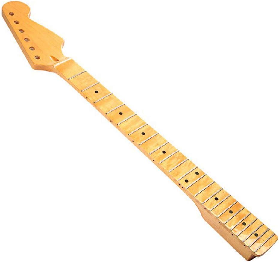 LVSSY-Cuello de Guitarra Eléctrica ST El Mástil Está Hecho de Arce Canadiense Importado Pulido de Madera de Arce Pintado(Amarillo)