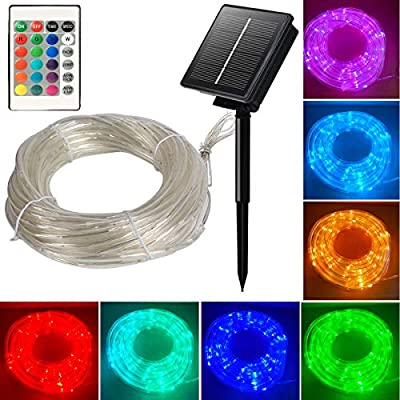 Solar Rope Lights 33ft 16 Colors Changing Outdoor 100 LEDs Remote Twinkle Rope Tube Fairy Lights Rope Tube Lights Christmas Wedding Party Yard Waterproof Decorations (Multicolor)