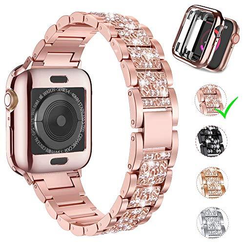 Aergood Correa de diamante,Compatible con Apple Watch Band 42mm + Caja Protectora, adecuada para iWatch SE series 6/5/4/3/2/1 (42mm,Oro Rose)