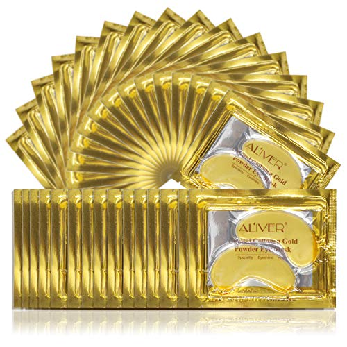 24K Gold-Pulver-Gel-Kollagen-Augenmaske, Kollagen Augenpads - Die Feuchtigkeit spendende Anti Falten Augenmaske gegen Augenringe & Fältchen Anti Aging(25 Paar)