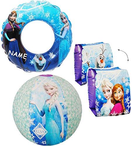 alles-meine.de GmbH 4 TLG. Set _ Schwimmflügel & Schwimmring & Strandball - aufblasbar -  Disney die Eiskönigin - Frozen  - incl. Name - passend für 2 bis 6 Jahre - Schwimmärme..