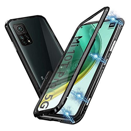 HaptiCover Funda para Xiaomi Mi 10T/Xiaomi Mi 10T Pro Adsorción Magnética 360 Grado Protección Cubierta Aluminio Marco Vidrio Templado Fuerte Imán A Prueba Golpes Metal Flip Case Negro