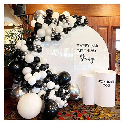 JSJJAEA Globos numéricos 119 piezas de globos de plata 4D negro blanco gris látex globo guirnalda arcos conjunto decoración perfecta (color: juego)