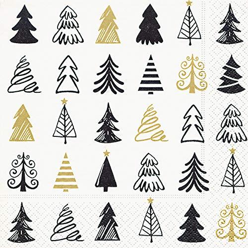 Servietten kreative Weihnachtsbäume in gold und schwarz
