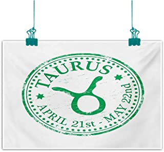 Modern Oil Paintings Zodiac Taurus Grunge Looking Graphic Rubber Stamp Design Vintage Stars and Sign Canvas Wall Art W35 xL24 Fern Green and White