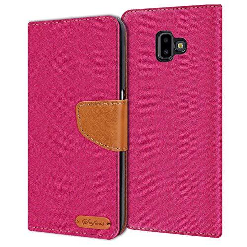 Verco Art Funda de Cuero Samsung Galaxy J6 Plus, Funda para teléfono móvil para Galaxy J6+ Funda de Libro Tela, Rosa