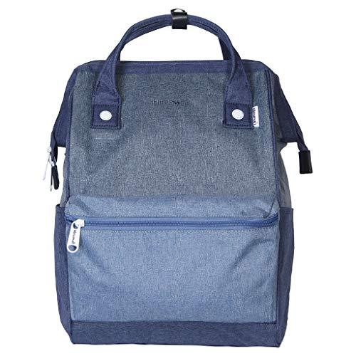 Himawari Polyester Backpack Unisex Vintage School Bag Fits 13-inch Laptop Denim Blue-USB