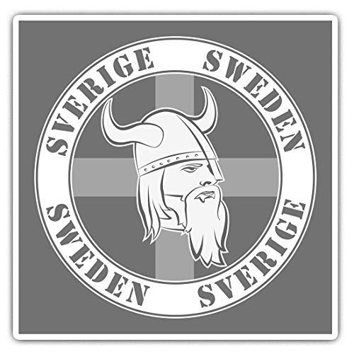 2 pegatinas cuadradas de vinilo de 7,5 cm – Sverige Suecia Vikinga Suecia Vikingo Suecia 40747