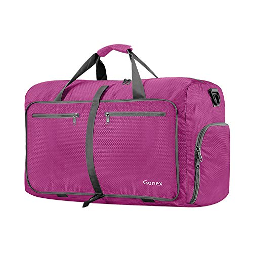 Gonex 40L Packable Travel Duffle Bag for Boarding Airline, Lightweight Foldable Gym Duffle Water Repellent & Tear Resistant Rose Red