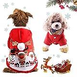 WELLXUNK® Disfraz de Perro de Navidad, Ropa Mascotas con Capucha para, Adornos de Navidad para Mascotas, Lindo Trajes de Navidad, Otoño Invierno Mascota Ropa para, Christmas Pet Traje Fiesta (S)