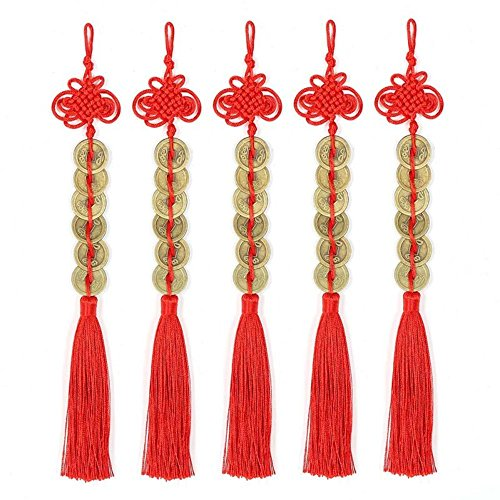 Topxome Retro 6 Coins Red Chinese Knot Copper Feng Shui...