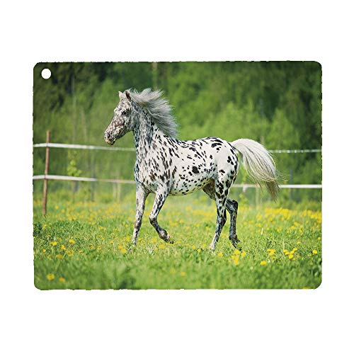 Bumina Horse Decor Case for iPad 9.7 2018 2017(6th Gen, 5th Gen)/iPad Air 2/iPad Air,PU Leather Case with Stand Function/Auto Sleep Wake Up Green Black White