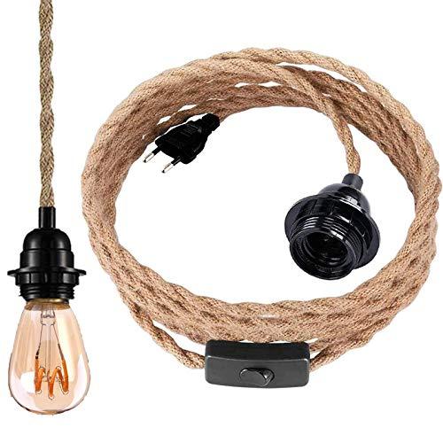 Pendelleuchte Kit mit Schalter, Vintage Hängelampe mit 4.5 Meter gedrehten Hanfseil E27 Lampenfassung für Küche, Bar, Fundament, Lager, Bauernhof (ohne Birne)